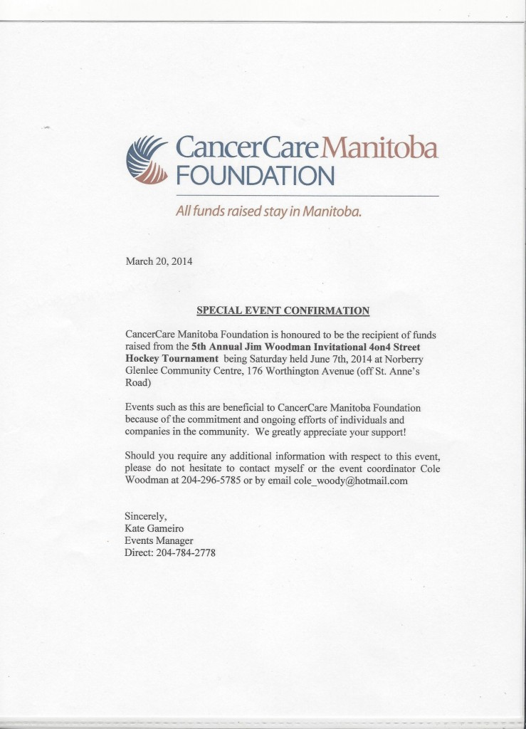 Letter of Confirmation from Cancer Care Manitoba