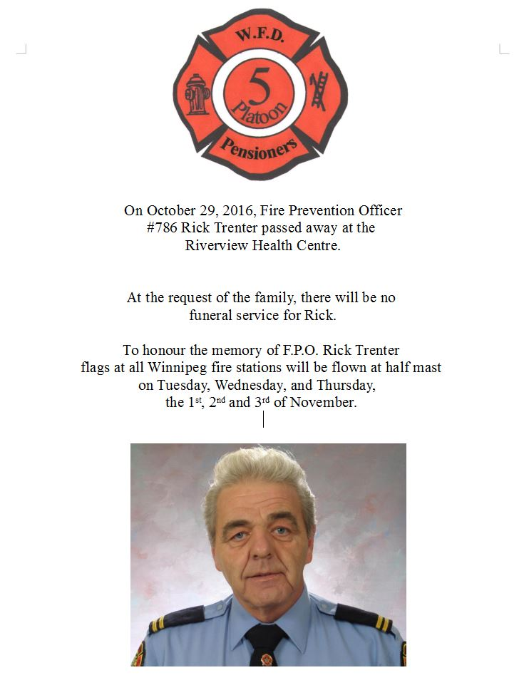 Passing of Senior Fire Prevention Office Rick Trenter | United Fire ...
