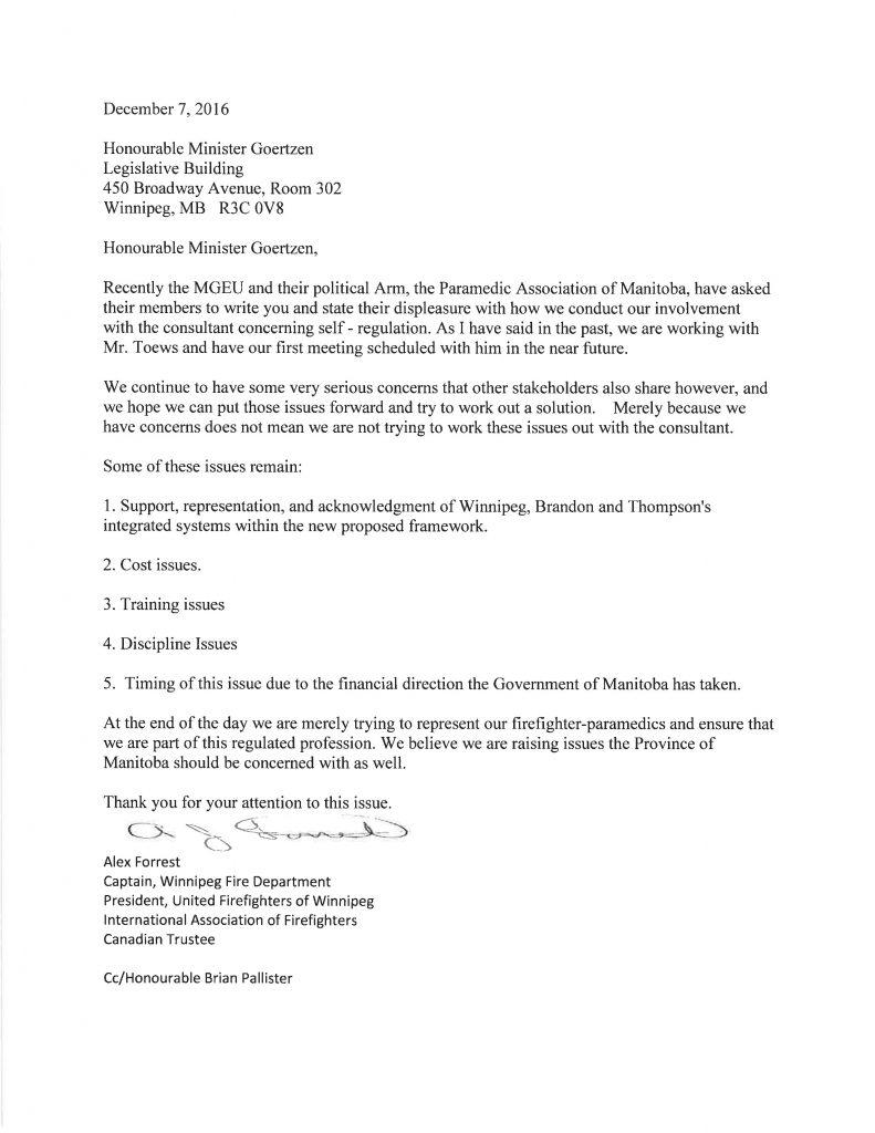 Self regulation letter to health minister geortzen united fire recent news spiritdancerdesigns Images